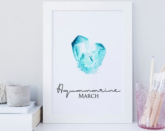 March wall print, Birthstone wall art, Aquamarine wall art, Aquamarine gemstone print, Calendar birthstone print, Birthday Gift print