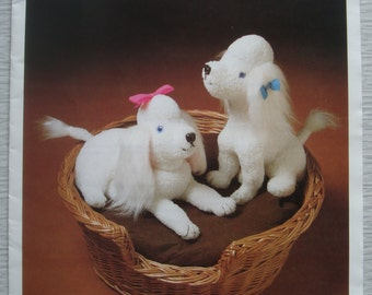 vintage Beckfoot Mill PAIR of POODLES soft toy sewing pattern
