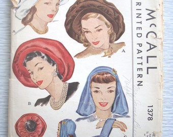vintage 1378 McCall HATS & BAG sewing pattern