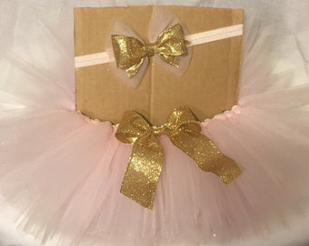 Pink and Gold double-layer tutu great for little girls' birthday parties or pictures!