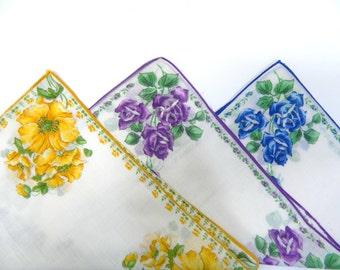 Floral Hankies ... 1950s Set Of 3 Floral Hankies