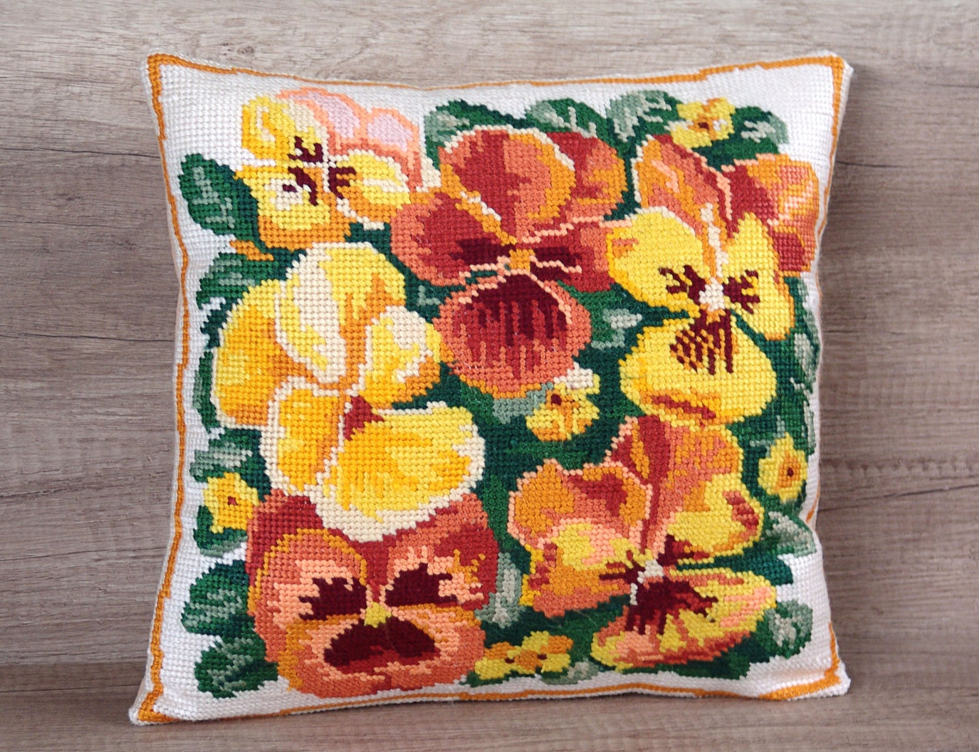 Modern Cross Stitch Pillows : Cross-stitch embroidery flower pillow cover colorful modern