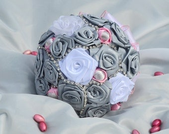 SILVER, GREY & PINK Wedding Bouquet, Brooch Bouquet, Bridal Bouquet, Crystal Bouquet, Jewelry Bouquet, Silver Roses Bouquet, Toss Bouquet