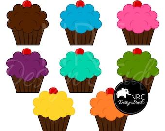 ON SALE Cupcakes Clip Art | Chocolate Cupcakes Clip Art | Sweets Clip Art | Commercial Use Clip Art | Instant Download | NRCDesignStudio