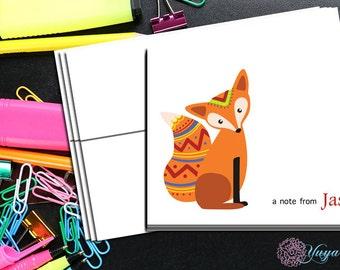 Personalized Tribal Fox Stationery / Custom boho fox Stationery / Tribal Stationery Set / Custom Fox Stationery / Set of 12