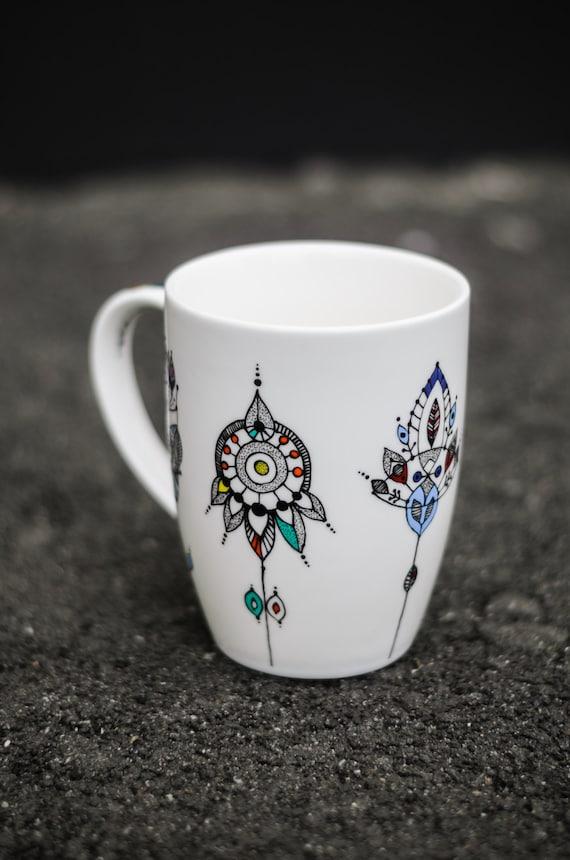 Mug coffee mug tea cup hand painted unique coffee mug by for Cool tea cup designs