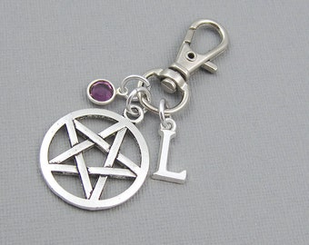 Personalized pentagram purse charm, zipper charm, silver initial, crystal birthstone, gift for her, bag charm, pagan, wiccan, purse clip
