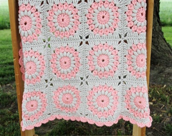 Peachy-Pink & Tan Crocheted Sunburst Infant Blanket