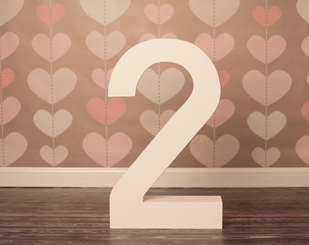 Tall Wooden Number 2, Photo Prop, Big Number 2, Large Wooden Number, Big Number, 2 year Birthday
