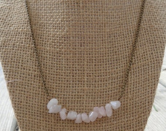 Rose quartz bead necklace in silver or bronze