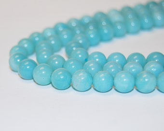 "8mm Natural Amazonite Gemstone Round Loose Beads For Jewelry Making 15.5"" Strand Wholesaler.R-S-AMA-0075"