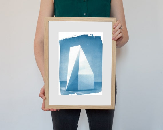 Sol Lewitt Complex Form Sculpture, Cyanotype Print on Watercolor Paper, A4 size
