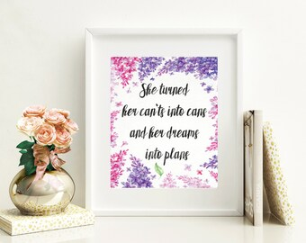 Teen Wall Art Print - She Quote - Motivational Art Print - Teen Wall Decor - Watercolor Floral Art - Watercolor Quote Print