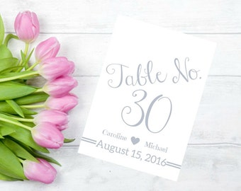 Printable Wedding Table Numbers 1-30 Personalized In A Silver Font CWS106_10