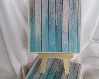 Blue distressed wood Ceramic Tile Coasters, Polka Dots, Set of 4, handmade, Drink Coasters, hostess gift, barware, Home Decor, aqua coasters