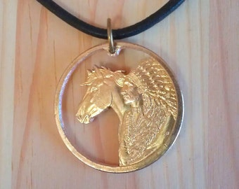 Horse and Native American cut coin necklace pendant charm, Sacajawea Dollar U.S. Native American and Horse Coin Necklaces, Cut Coin Jewelry