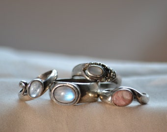 Vintage ring, Assorted vintage rings, Assorted sterling silver rings, Rainbow moonstone ring, Agate ring
