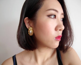 Gold Pearl Clip On Earrings (ONLY ONE)