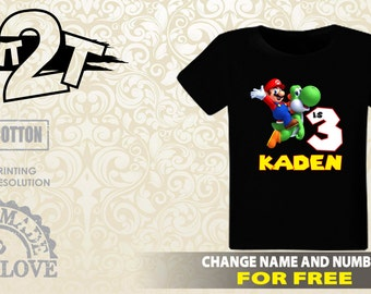 Super Mario Birthday T-Shirt, Custom Name and Number 1st 2nd 3rd 4th 5th 6th 7th Birthday toddler,  Boys T-Shirt