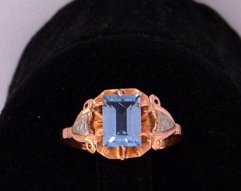 Spinel Blue Platinum Ring Gold antique ring Espinelo Celeste