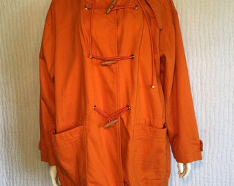 Vtg 80s Ultra Pink cotton orange oversize parka jacket coat hooded
