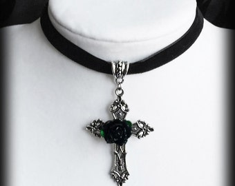 Gothic Choker Necklace, Black Velvet with Silver Cross and Black Rose, Gothic Victorian, Romantic Jewelry, Handmade Jewelry, Valentine Gift