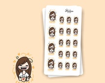 COFFEE Addict Planner Stickers / Hand drawn, cute, colorful / For your planner, agenda, calendar, scrapbook, laptop