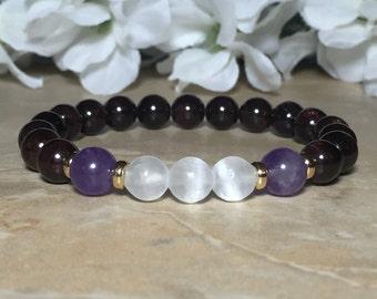 Selenite Bracelet, Amethyst Bracelet, Garnet Bracelet, Meditation Bracelet, Healing Crystal, Chakra Crystal, Purification, Protection