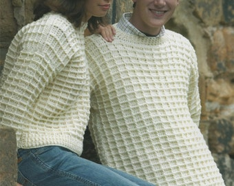 Womens and Mens Sweater PDF Crochet Pattern : 32 - 34, 36 - 38, 40 - 42 and 44 - 46 inch chest . Waffle Stitch . Jumper . Digital Download
