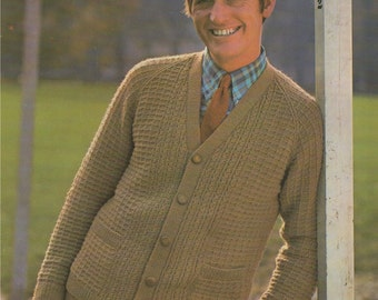 Mens Cardigan PDF Knitting Pattern : Mans 40, 42 & 44 inch chest . Slouch Cardigan . DK . Instant Digital Download