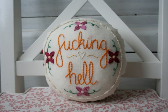 Profanityjane embroidered swear word pillow by