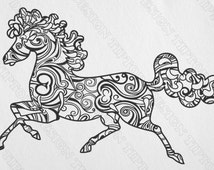Zentangle Horse, Svg, Png, Dxf, Eps, Cdr  Cut file for Silhouette, Cricut, template, stencil for DIY, vinyl, tattoo, scroll saw,