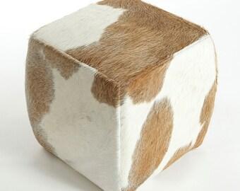 Cuadrados PUF - Puf de vaca tradicional Beige y blanco