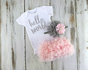 Newborn Baby Girl Take Home Outfit,Baby Girl Coming Home Outfit,Newborn Baby Girl Onesie,Light Pink Bloomers and Pink and Grey Headband Set,
