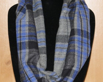 Blue Plaid Cowl