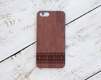 Wood Iphone 6s Case, Iphone 6 plus, 5, 5s, SE, Cover, Rosewood, Black Walnut, Laser Engraved #4020