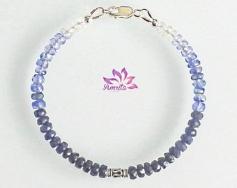 "Elegant Small Blue Natural Sapphire Bracelet ""Saturn"", Gemstones Bracelet, Blue Bracelet, Small Bracelet, Sapphire Bracelet, Beaded Bracelet"