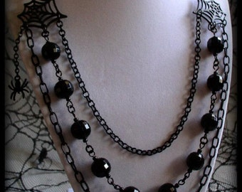 SALE 50% OFF- Black Widow - Black Beaded Gothic Noir Layered Multi-Strand Spider Statement Necklace