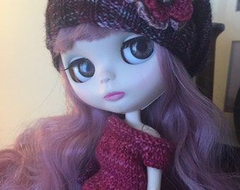 Slouchy Beanie with Flower for Blythe