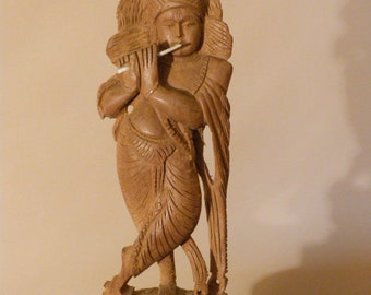 Handmade wood sculpture,  antique wood carving, wood carving, flute-playing woman