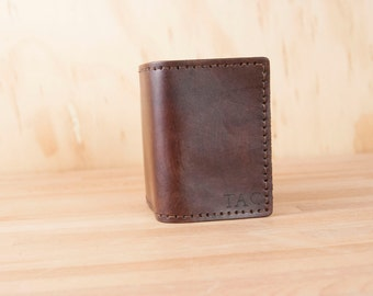 Monogram Mens Wallet - Personalized Trifold Leather Wallet in the Monogram Pattern in Mahogany - Third Anniversary Gift