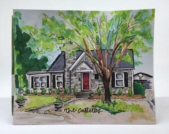 5x7 Custom Home Portrait Drawing