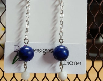 Blue and White Long Chain Earrings