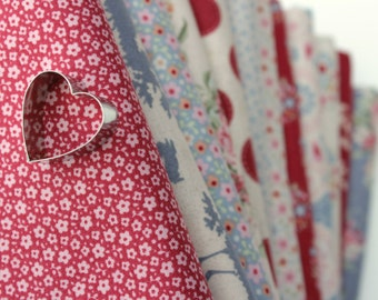 Tilda fabric 12 Fat Quarter Bundle / Sweetheart Collection / Worldwide Shipping