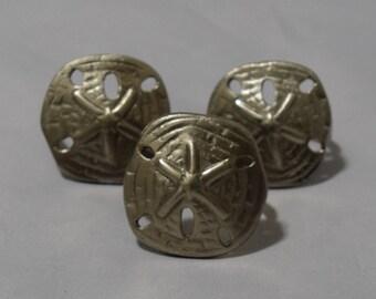 Set of 3 Pewter seashell Napkin Rings/ Vintage Napkin Ring