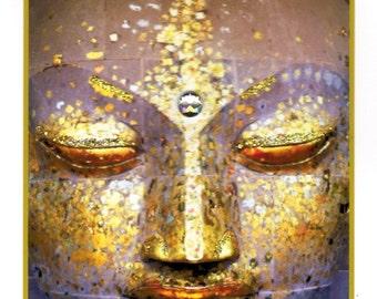 Buddha Head Hand-Embellished Card