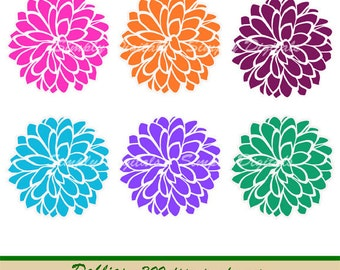 Dahlia Flower Digital Clipart. Wedding Clipart. Scrapbooking. Invites. Greetings. Instant Download. SD.