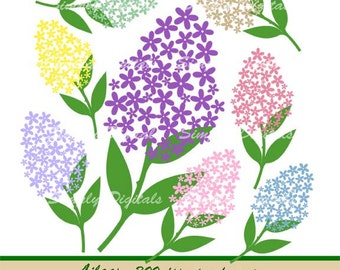 Lilacs Digital Clipart. Flower Clipart. Wedding Clipart. Scrapbooking. Greetings. Invites. Instant Download. SD
