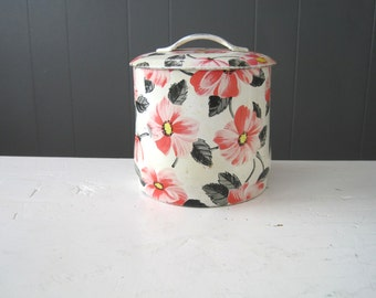 Mid Century Vintage English Tea Caddy, Biscuit Canister, Cookie tin, Tea can, Romantic, Shabby Chic, Cottage Chic, Retro, Made in Britain