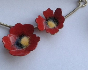 Flower Necklace, Flower Enamel Necklace, Red Poppy Necklace, Nature Necklace,  Enamel Necklace, Modern Jewellery, Brass Jewellery